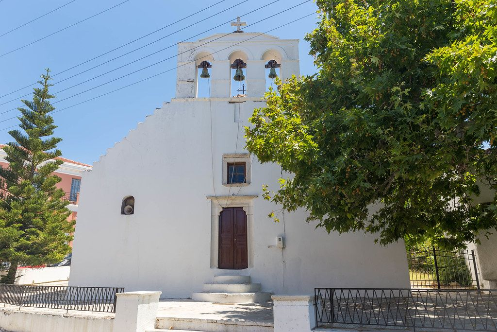 The white church of Panagia Protothronos in the village of Halki in the interior of the island of Naxos