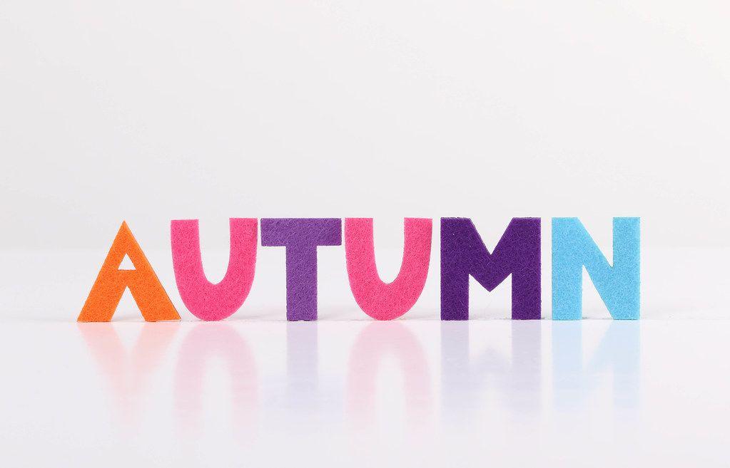 The word Autumn on white background