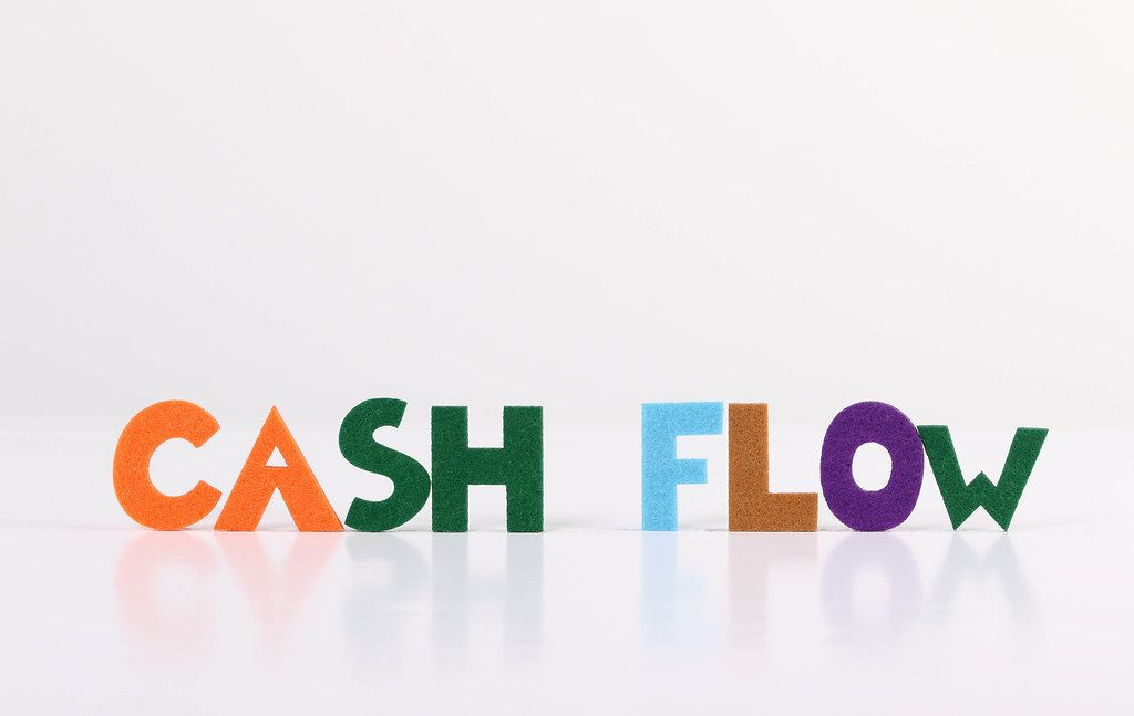 The word Cash Flow on white background