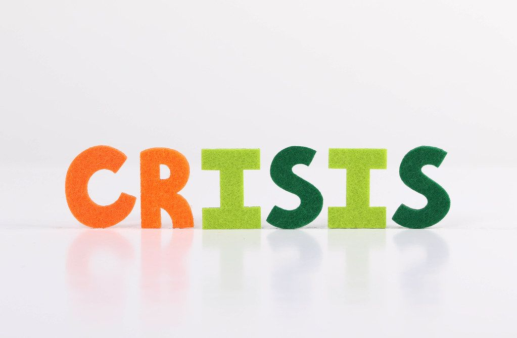 The word Crisis on white background