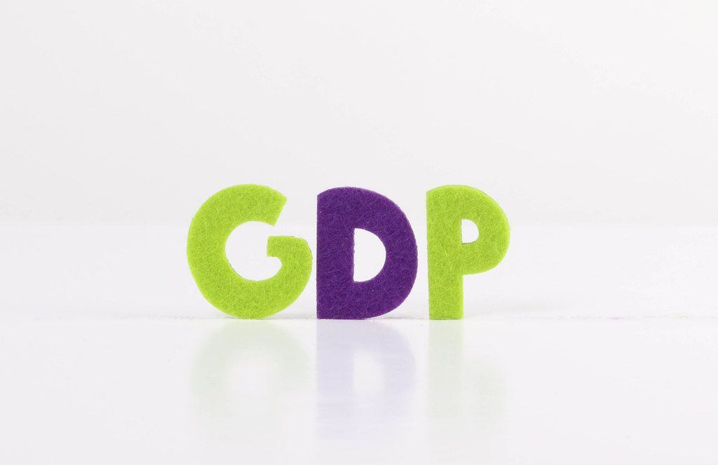 The word GDP on white background