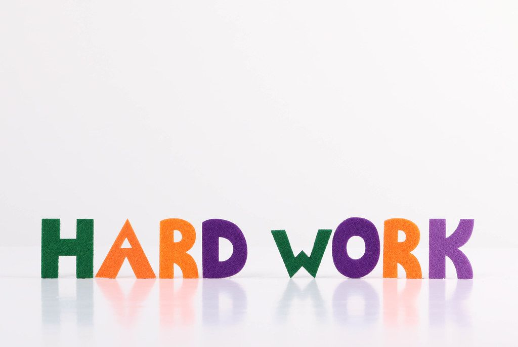 The word Hard Work on white background