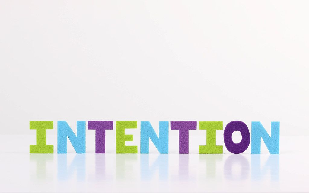 The word Intention on white background