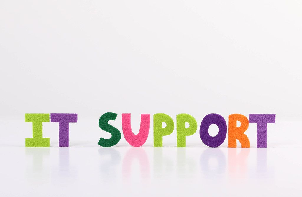 The word IT Support on white background