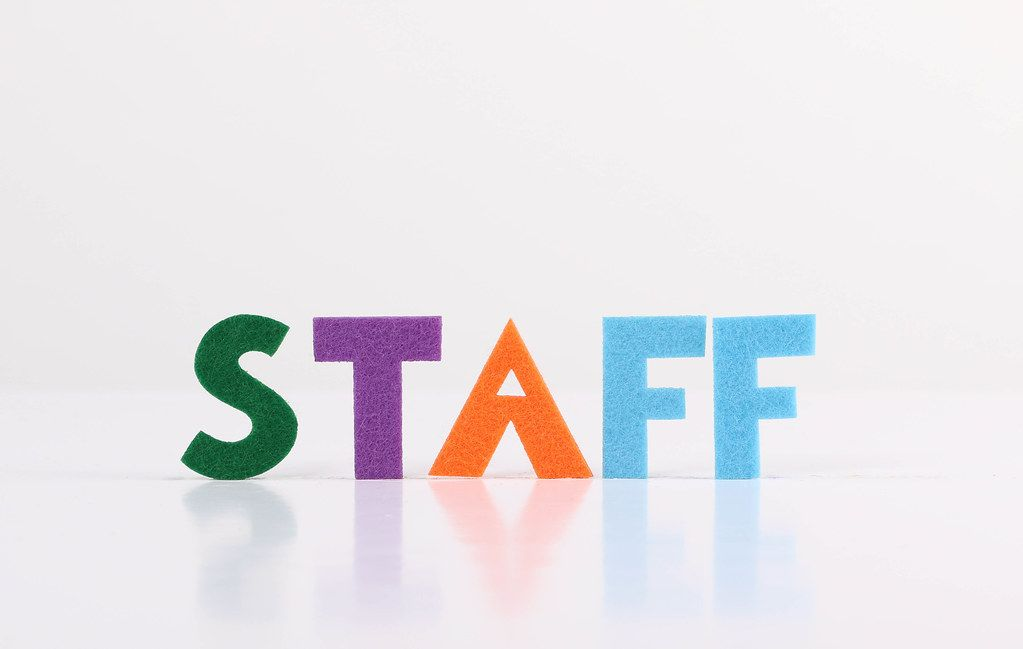 The word Staff on white background