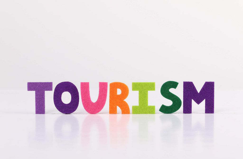 The word Tourism on white background