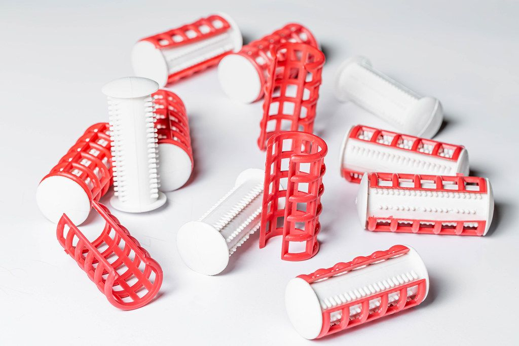 Thermal curlers on a white background