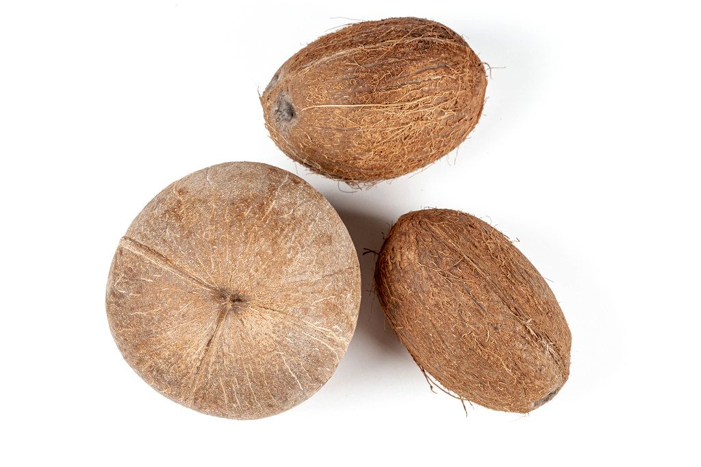 Three coconut on a white background, top view