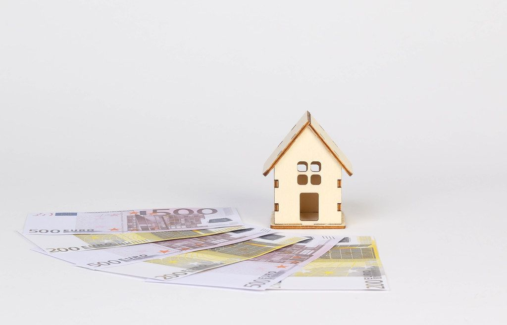 Tiny wooden house with Euro banknotes