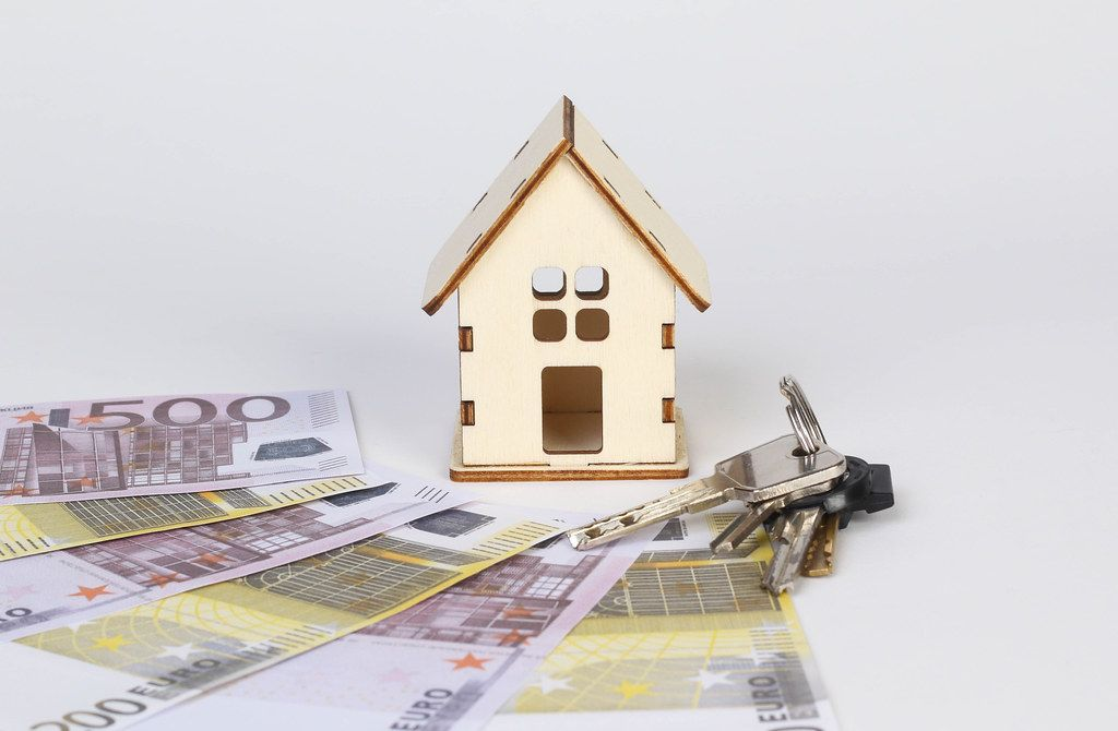 Tiny wooden house with keys and Euro banknotes