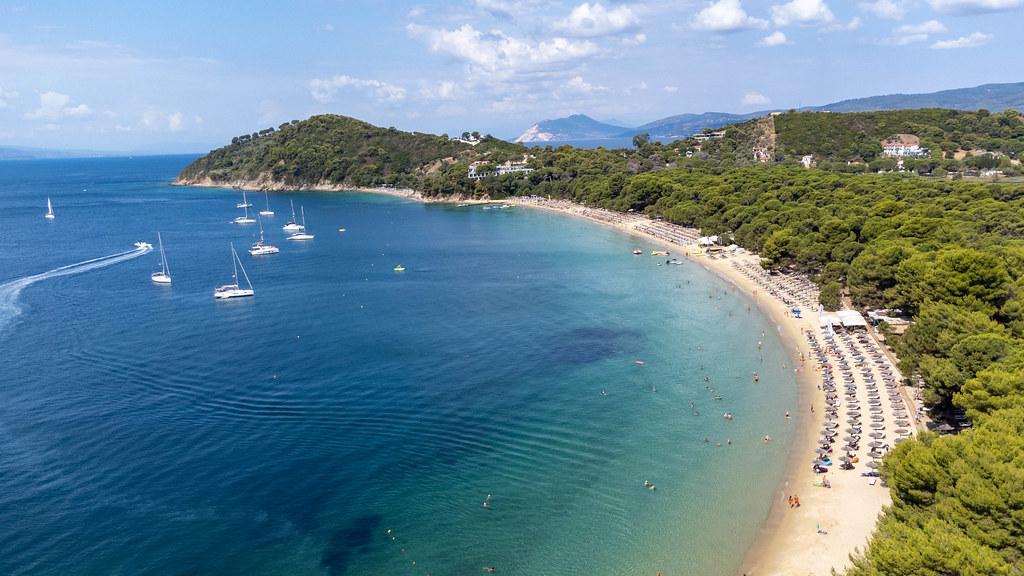 Top 10 beaches in Greece: aerial view of tropical-like Koukounaries beach on Skiathos