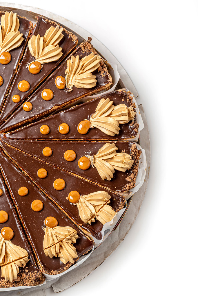 Top view, chocolate nut cake with condensed milk
