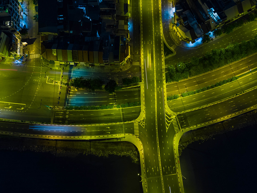 Top View Drone Night Photo of an empty Bridge and Highway in Ho Chi Minh City, Vietnam