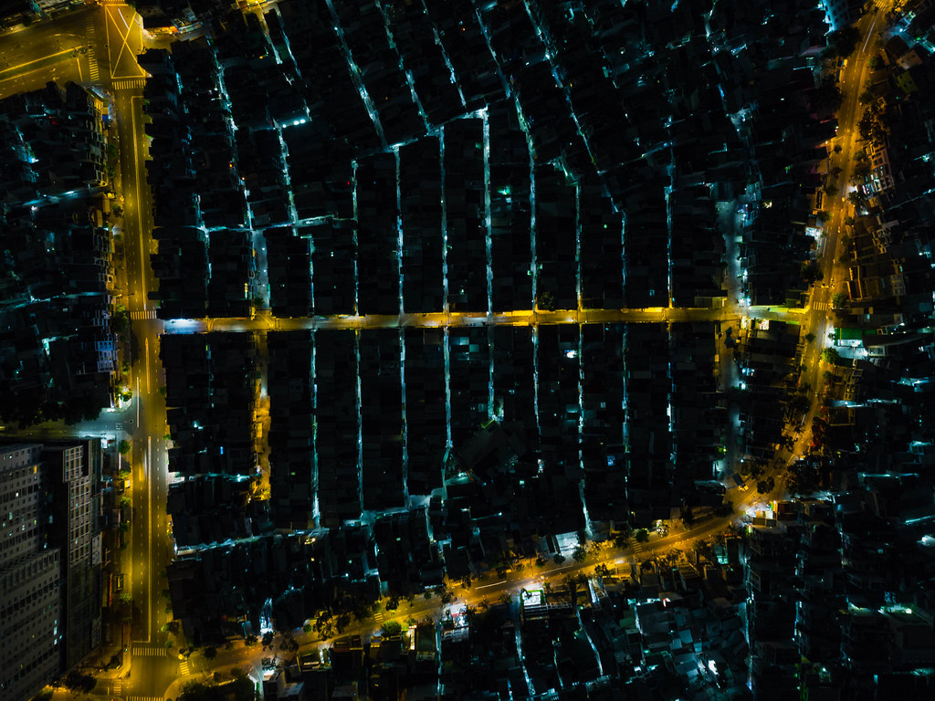 Top View Drone Photo of a local Neighborhood with several small Alleys in District 4 of Ho Chi Minh City, Vietnam