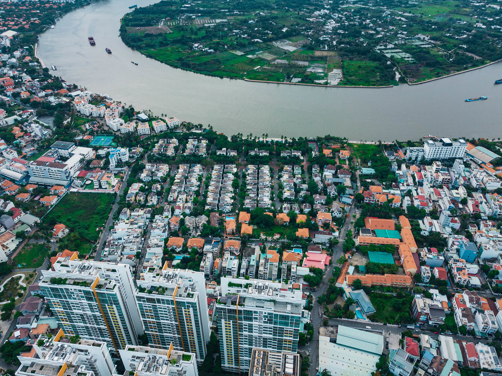 Top View Drone Photo of An Phu Neighborhood with many Villas, high-class properties and the Vista Apartment Building in District 2 in Ho Chi Minh City, Vietnam