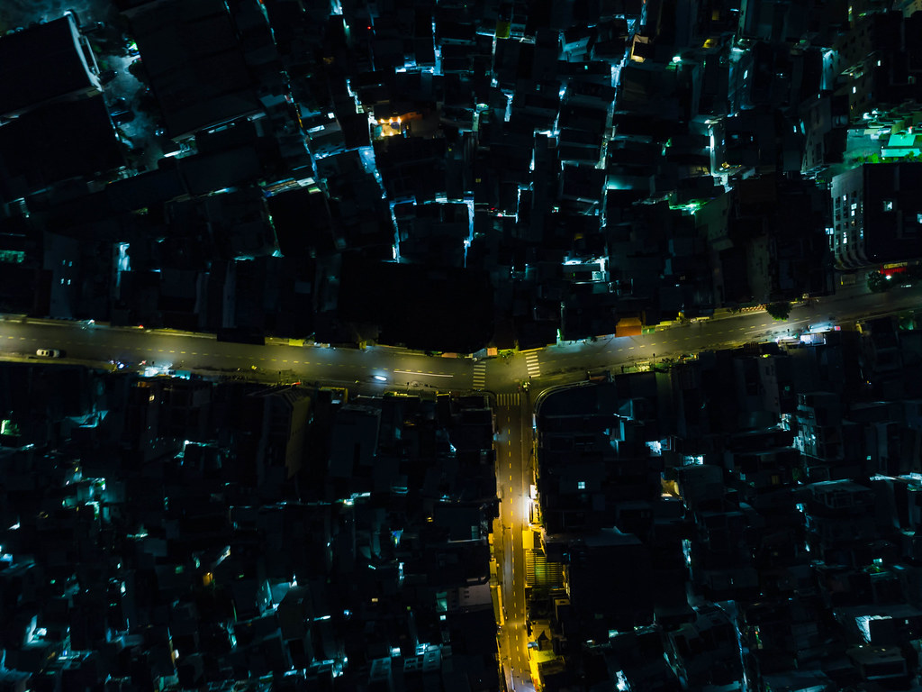 Top View Drone Photo of Bui Vien Walking Street with many Lights in several Alleys in District 1 in Ho Chi Minh City, Vietnam