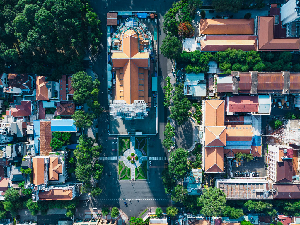 Top View Drone Photo of Notre Dame Cathedral and Saigon Post Office in District 1 in Ho Chi Minh City, Vietnam