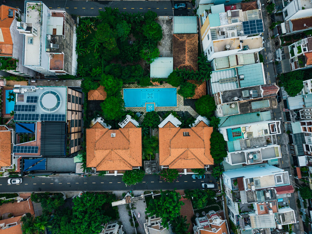 Top View Drone Photo of Villas with Garden and Pool in An Phu Neigborhood in District 2 in Ho Chi Minh City, Vietnam