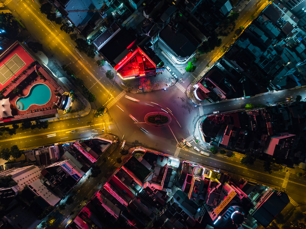 Top View Long Exposure Drone Photo of Phu Dong Six Way Intersection in District 1 in Ho Chi Minh City, Vietnam