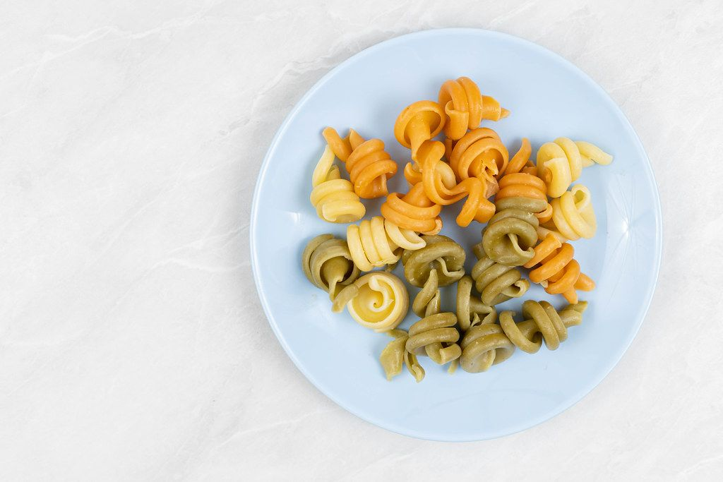 Top view of cooked Italian Tricolore Pasta
