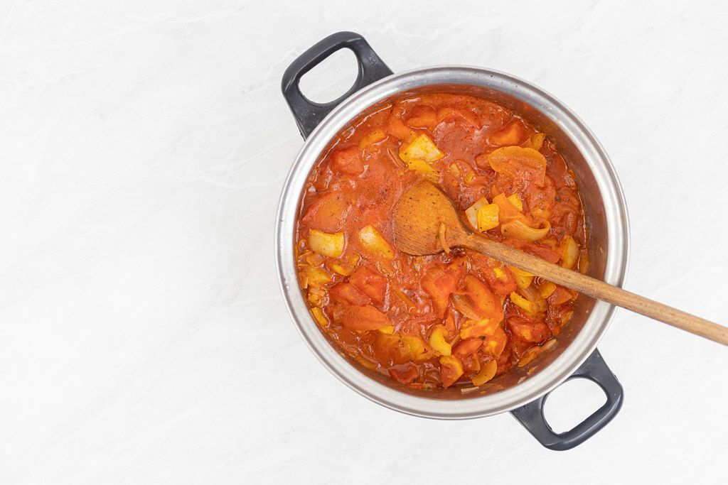 Top view of cooked Tomato Stew with copy space