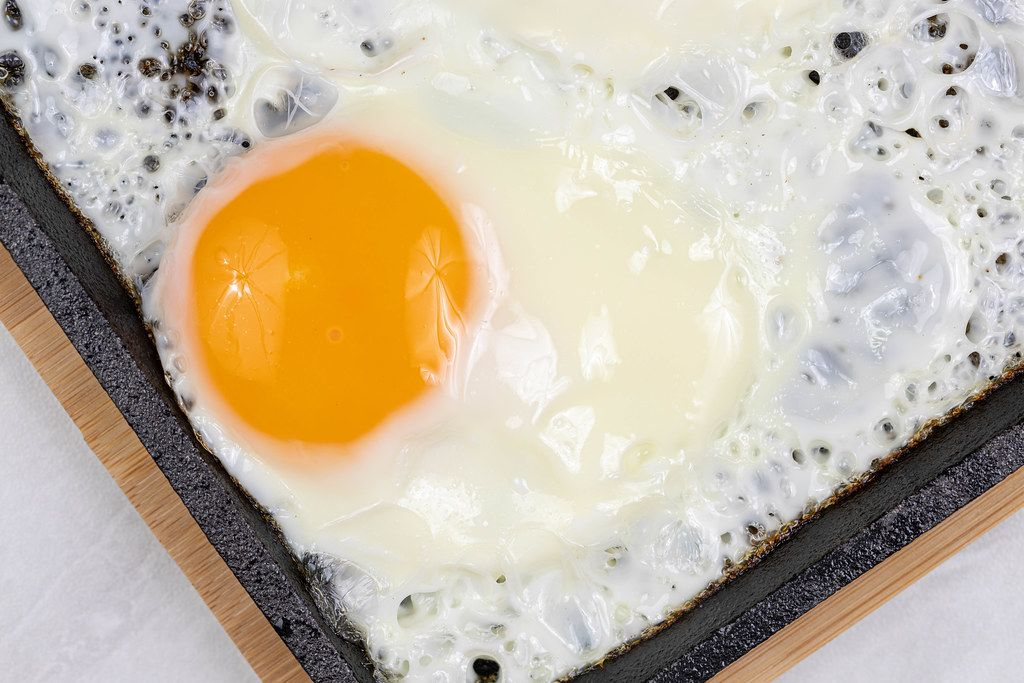 Top view of Fried Eggs in the frying pan