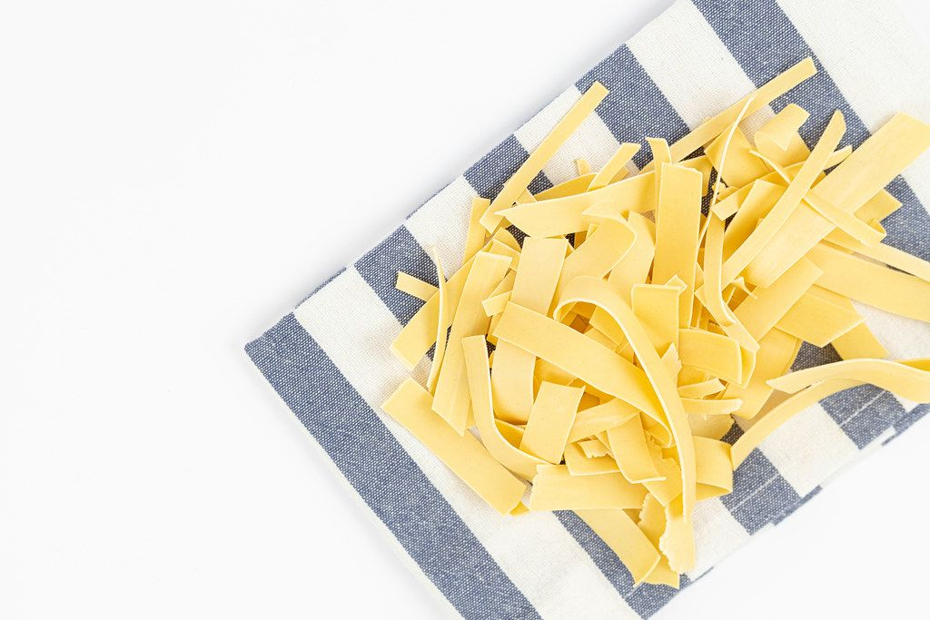 Top view of homemade Pasta on the kitchen dishcloth