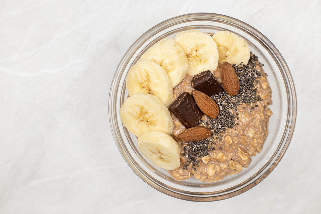 Top view of Oatmeal with Bananas Chocolate and Chia