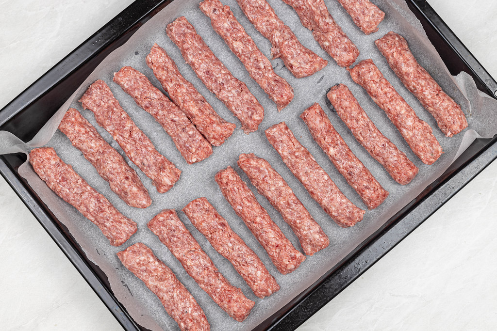 Top view of Raw Kebabs on the baking tray