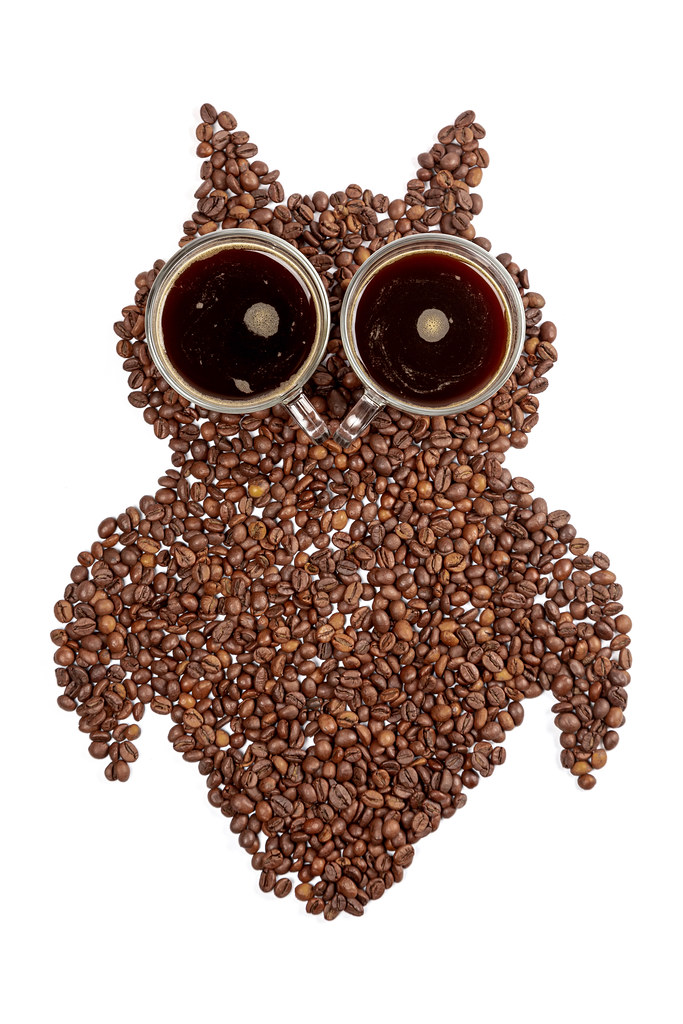 Top view, owl made from coffee beans with eyes from two cups of coffee