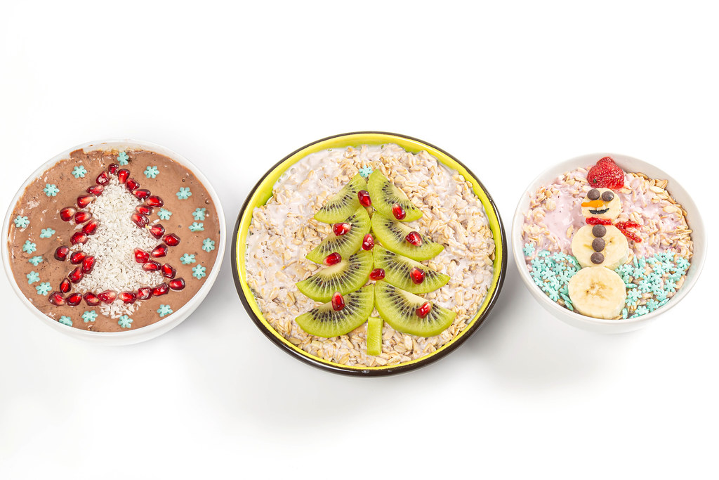 Top view, set of christmas healthy breakfast on white background