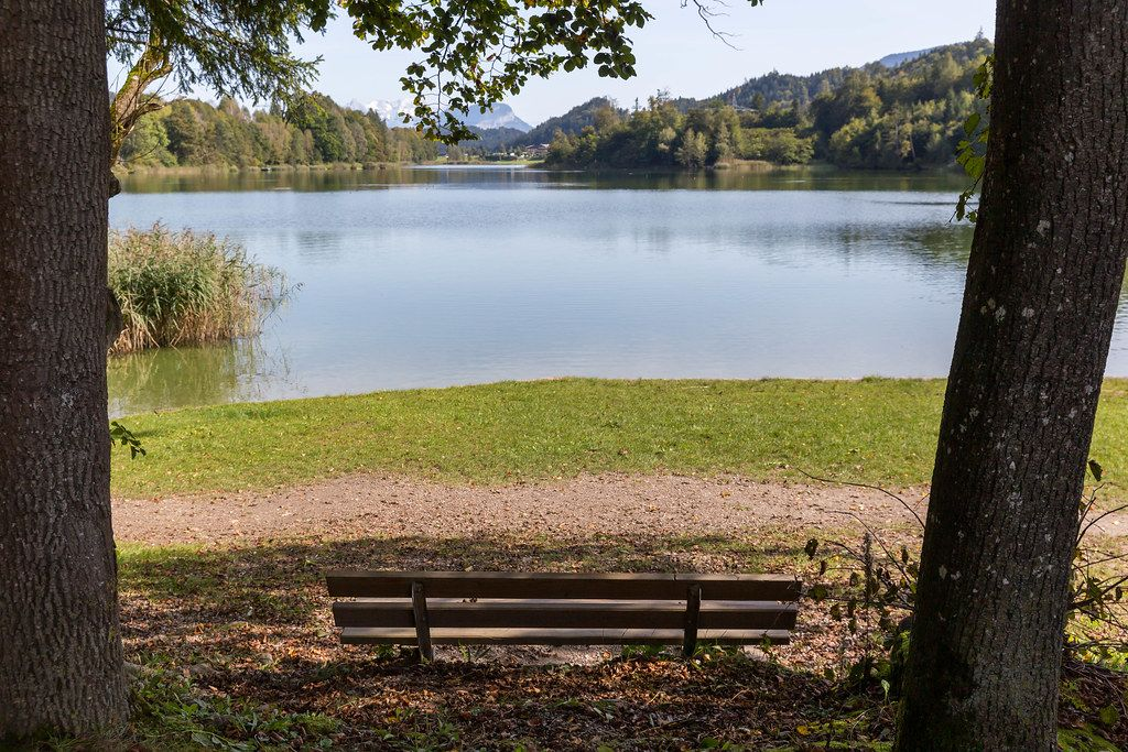 Tranquillity in nature: empty wooden bench by the shores of a small lake in Tyrol, Austria
