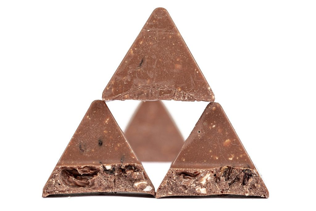Triangular pieces of chocolate, close-up