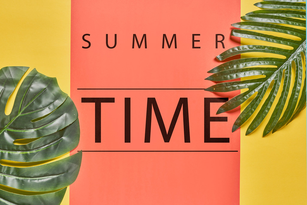 Tropical bright colorful summer background with tropical palm leaves