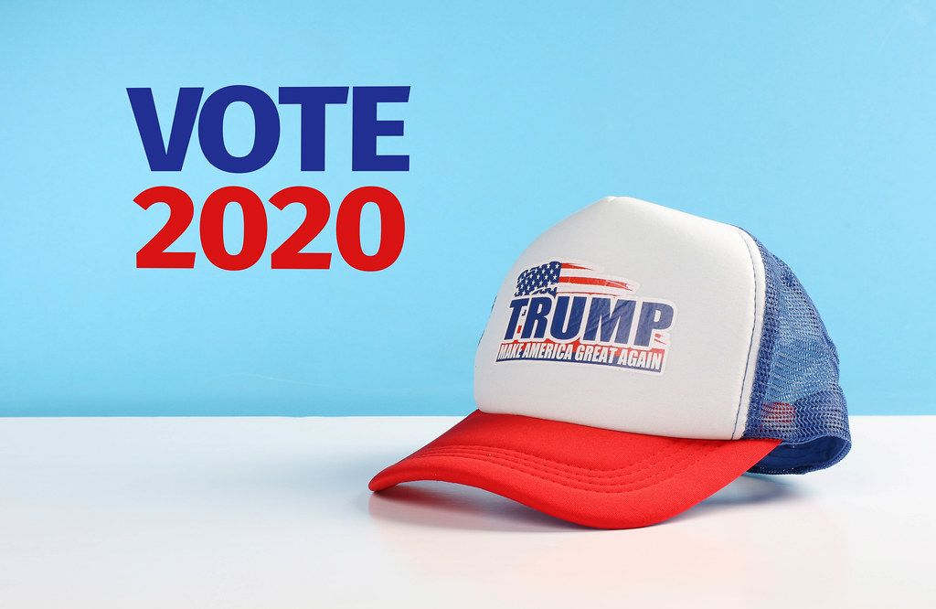 Trump classic trucker hat with Vote 2020 text