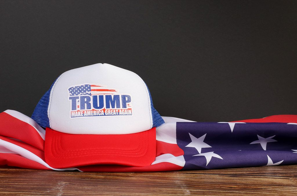 Trump trucker hat with American flag