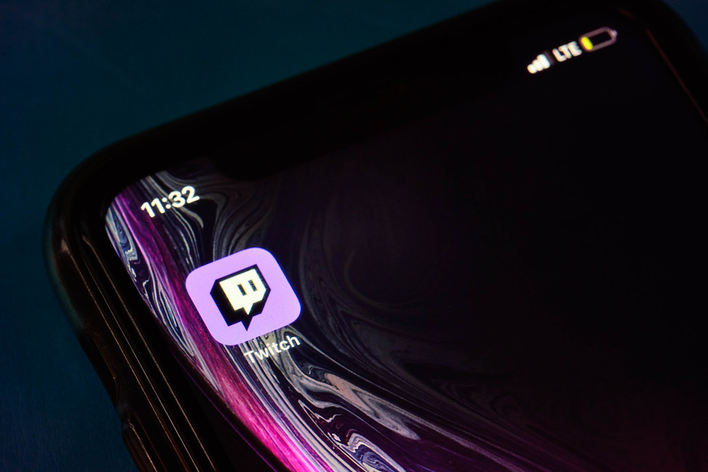 Twitch icon app on the screen smartphone