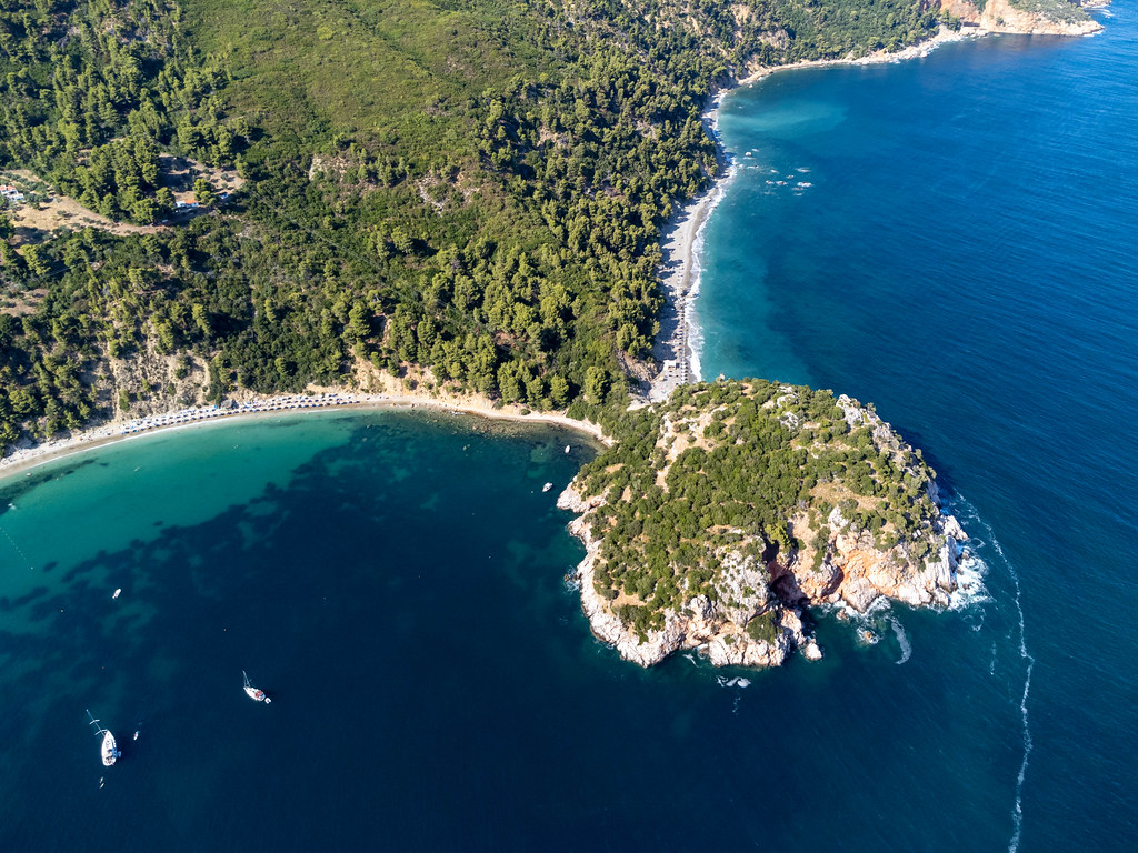 Two beaches and a headland with archaeological site and deep blue sea: Stafylos and Velanio on Skopelos