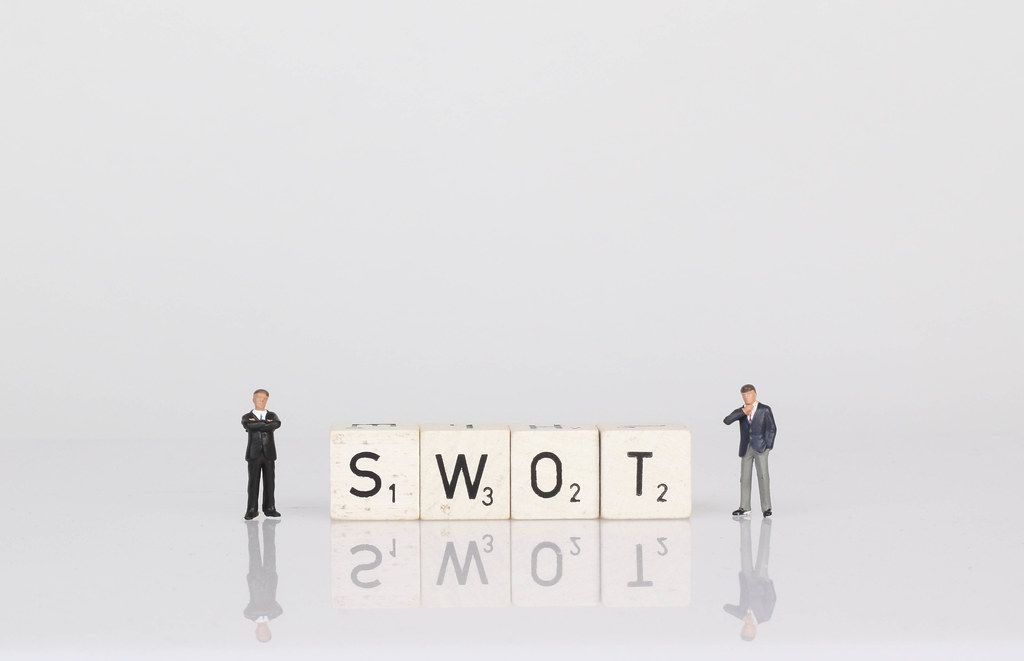 Two businessman with SWOT text