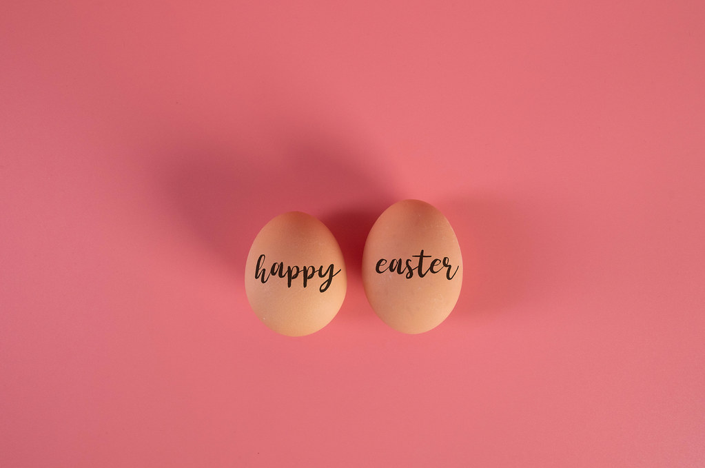 Two eggs with Happy Easter text