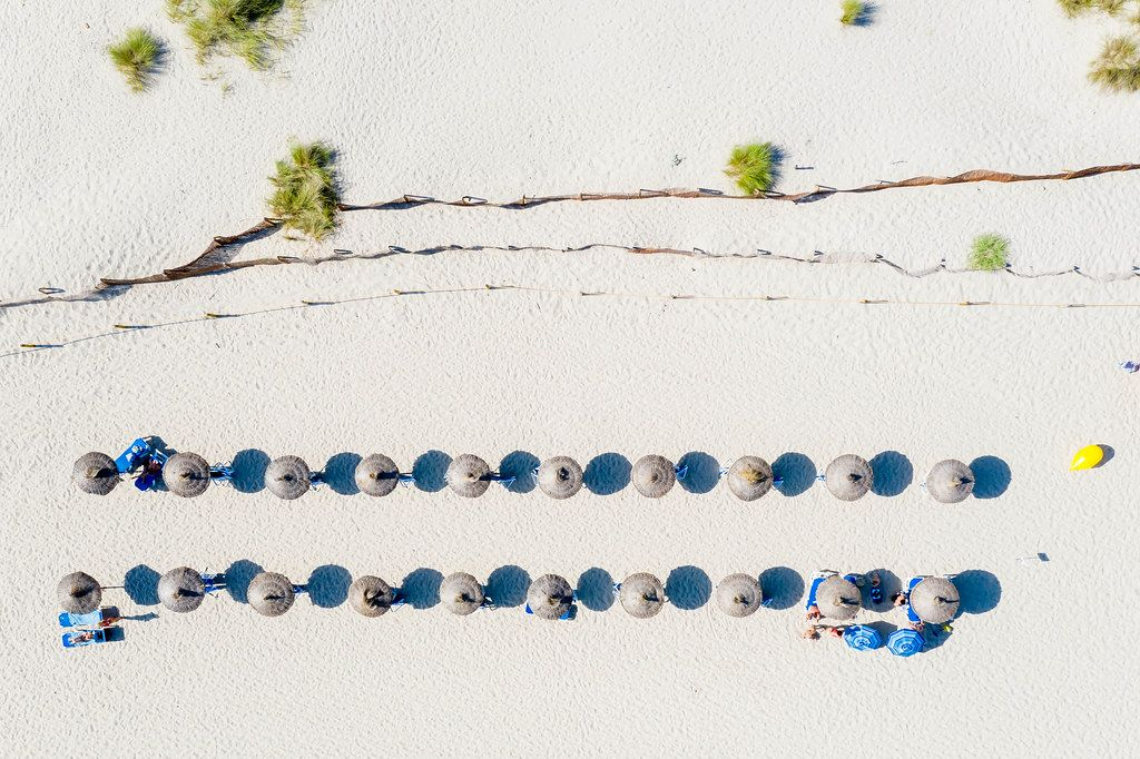 Two rows of Hawaii-style parasols, blue sunbeds and bushes. Cala Mesquida, Mallorca. Overhead shot