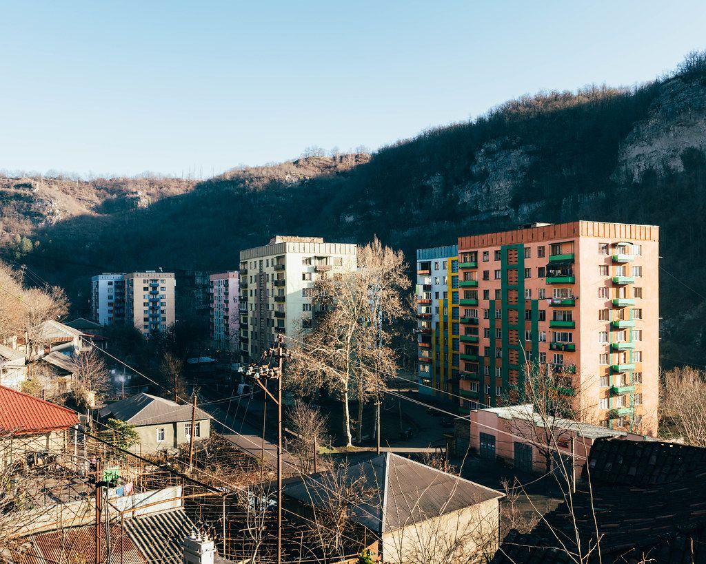 Typical panel soviet apartment buildings of 1960s in post-soviet mining town of Chiatura in western Georgia