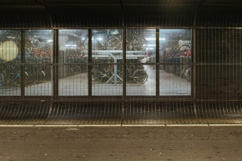 Underground bicycle parking at the main train station in the city of Amsterdam