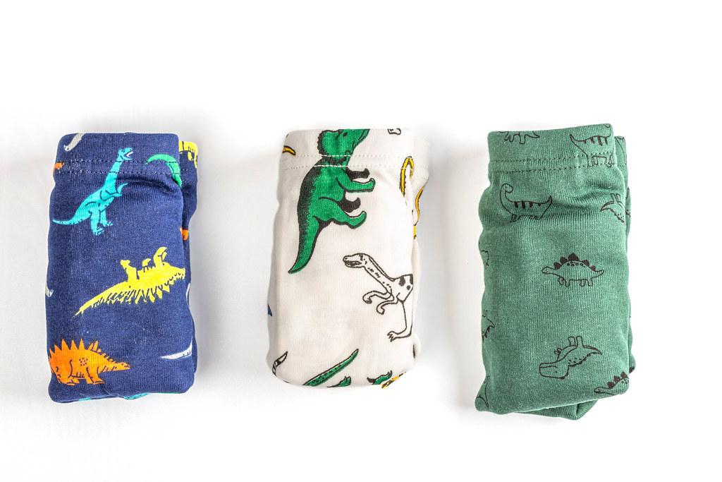 Underwear for a boy- three panties for children on white background