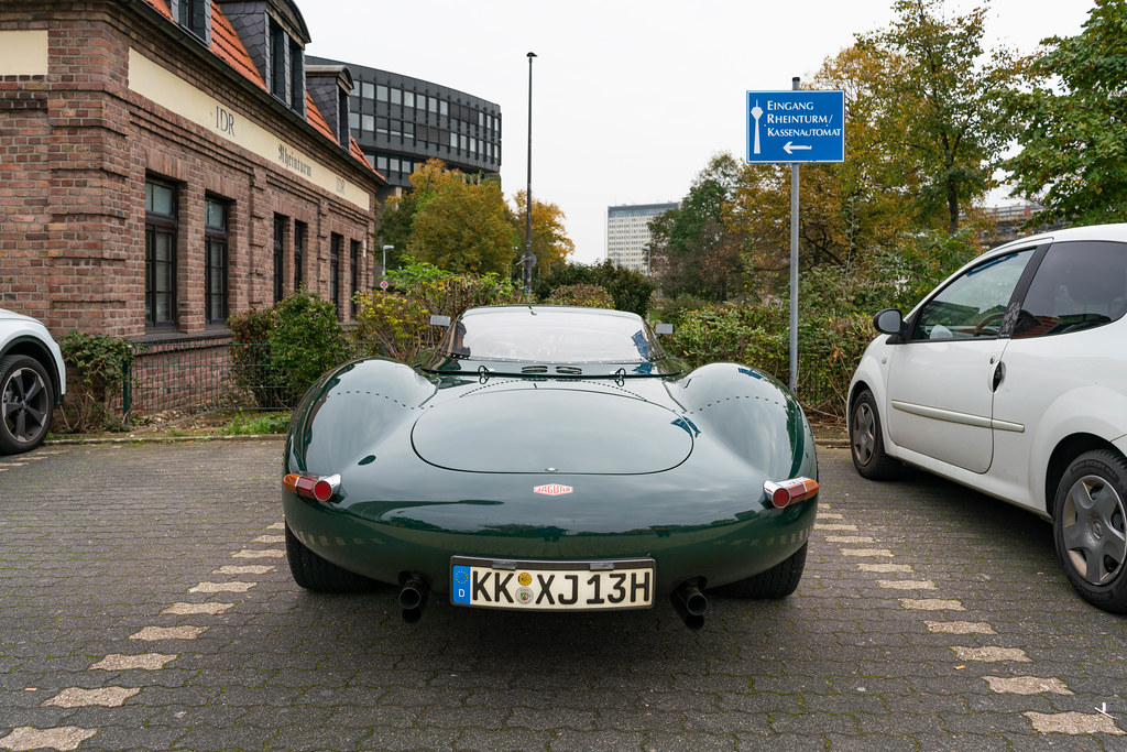 Unique replica of Jaguar XJ13 sportscar parked near Rhine Tower in Dusseldorf, Germany
