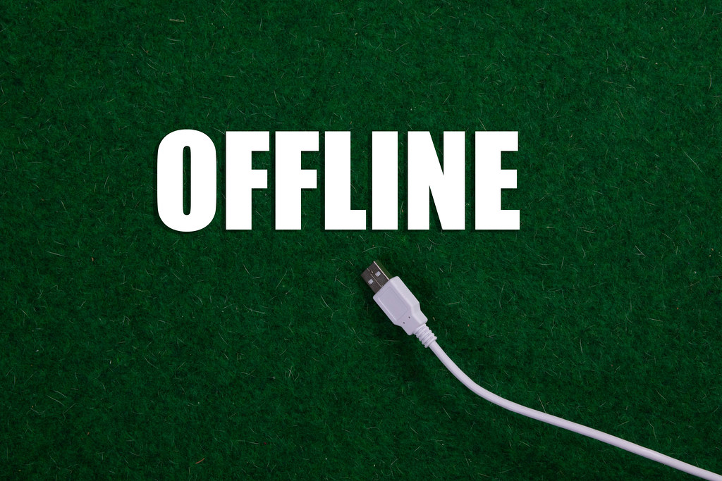 USB cable and Offline text on green grass