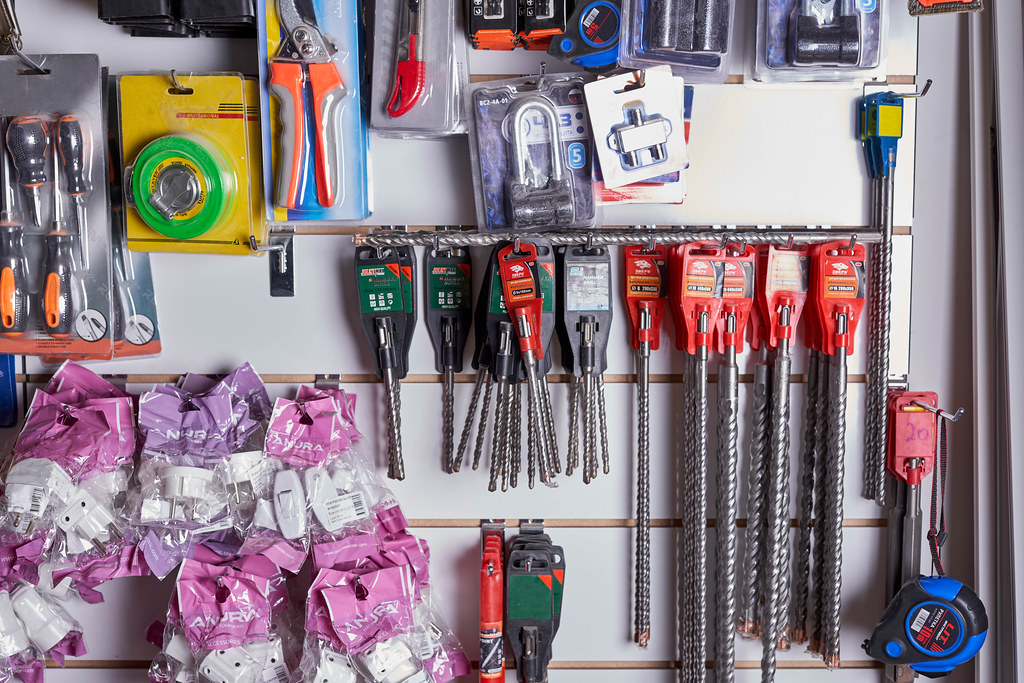 Various tools in the construction store