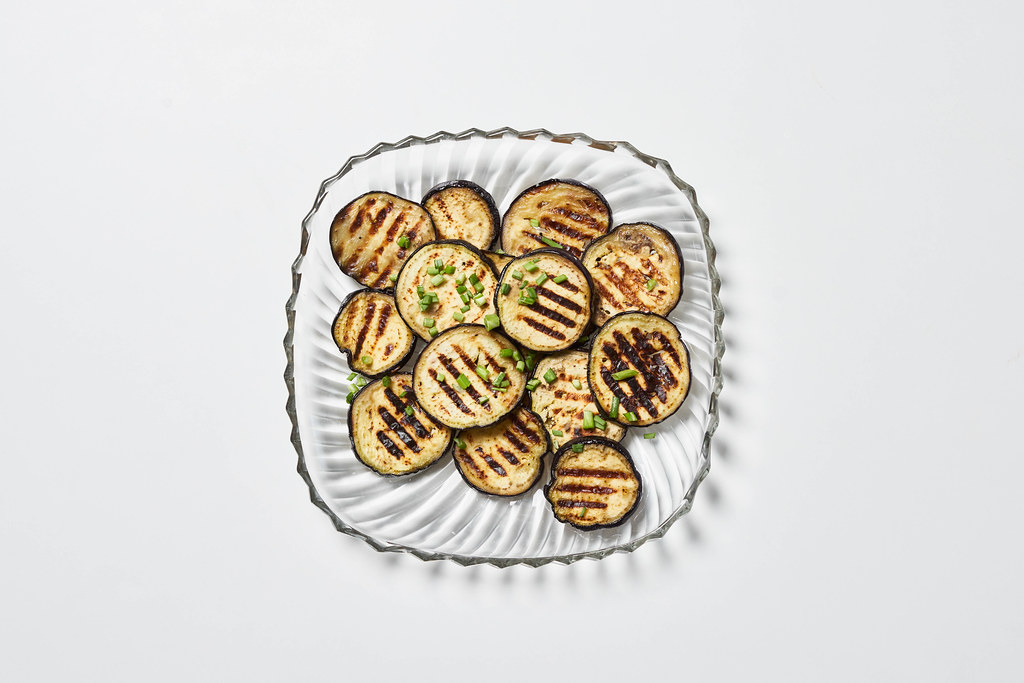 Vegan meal - roasted on barbeque grill eggplant