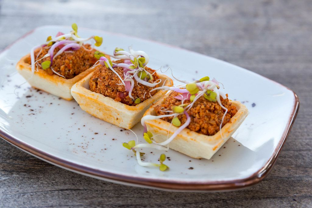 Vegan Mexican food: close-up of homemade Chorizo canapé at Villa Vegana in Selva, Mallorca
