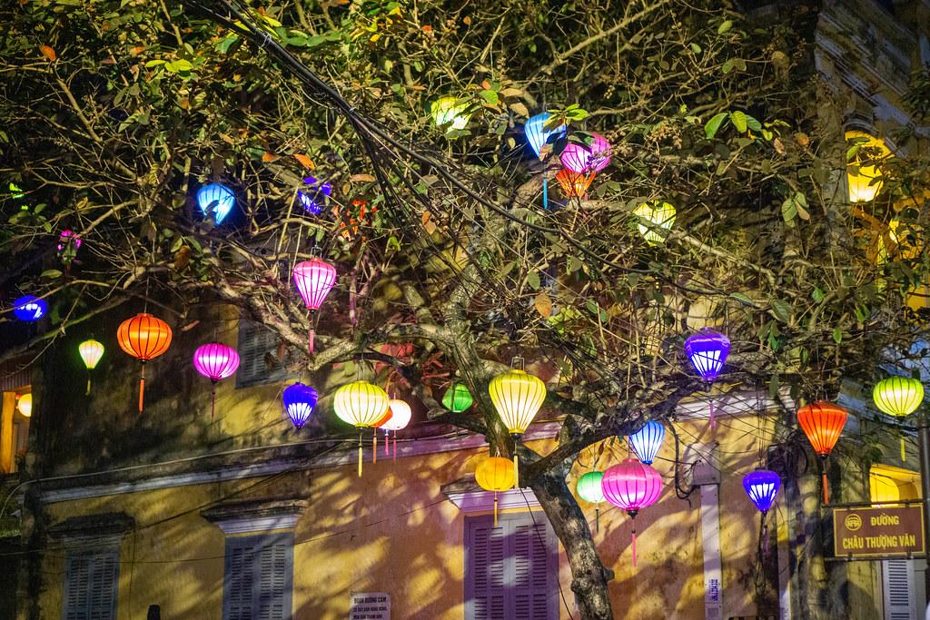 Viele Lampions in verschiedenen Formen und Farben hängen an einem Baum in der Altstadt in Hoi An, Vietnam